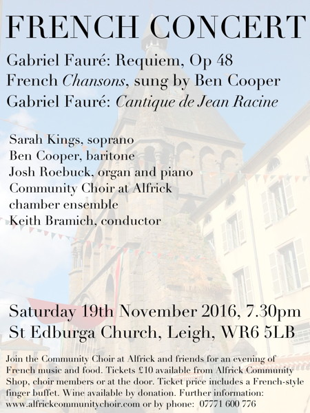 French Evening - 19th November 2016, 7.30pm at Leigh Church