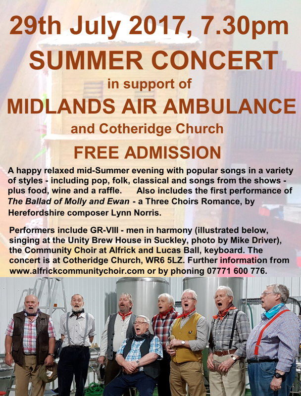 Summer Concert - 29th July 2017, 7.30pm at Cotheridge Church