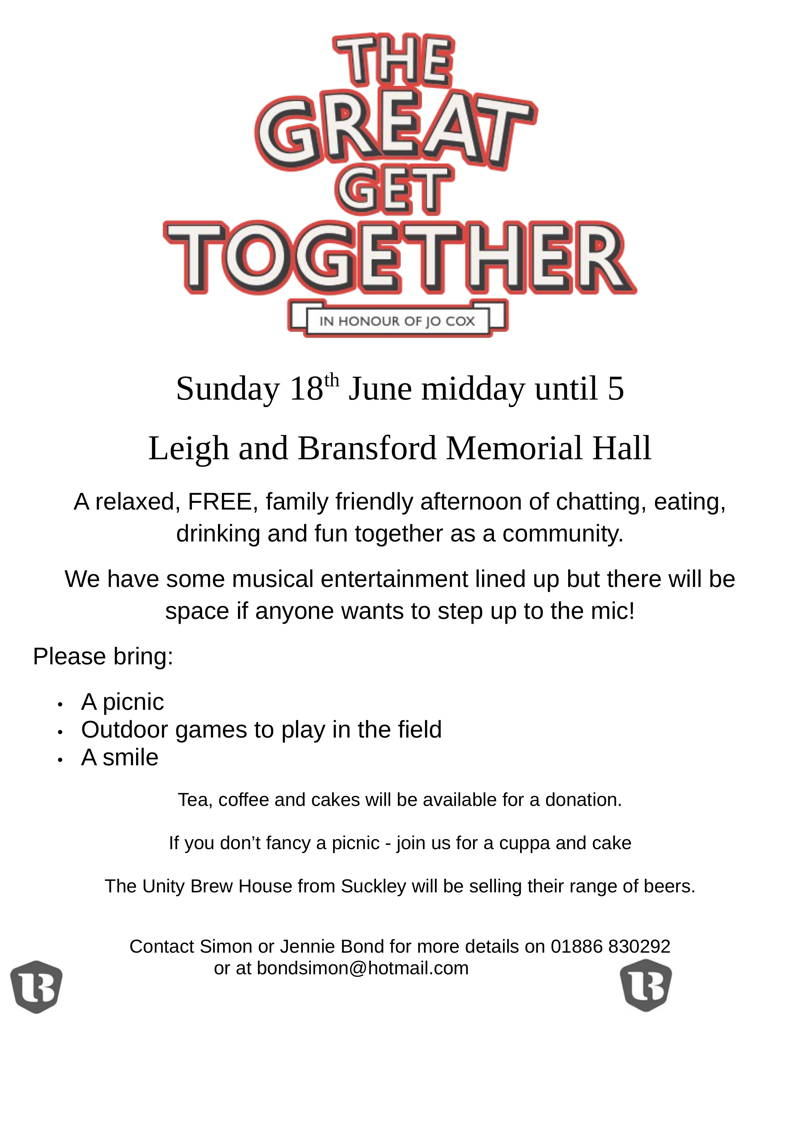 The Great Get Together at Leigh and Bransford Memorial Hall, Sunday 18th June, 12 noon until 5pm